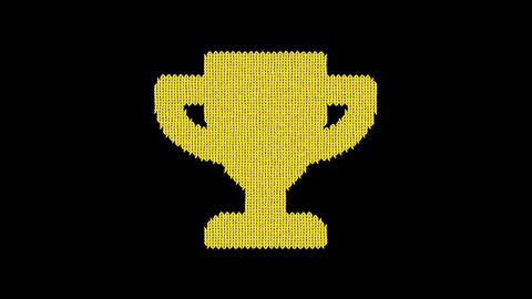 Symbol trophy is knitted from a woolen thread. Knit like a sweater Animation