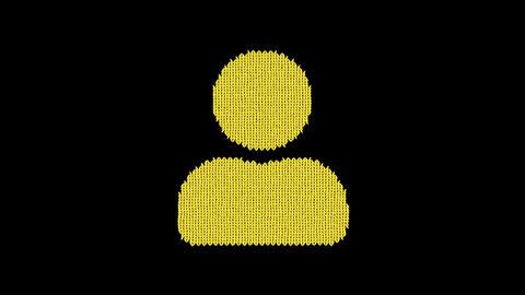 Symbol user is knitted from a woolen thread. Knit like a sweater Animation