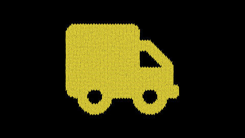 Symbol truck is knitted from a woolen thread. Knit like a sweater Animation