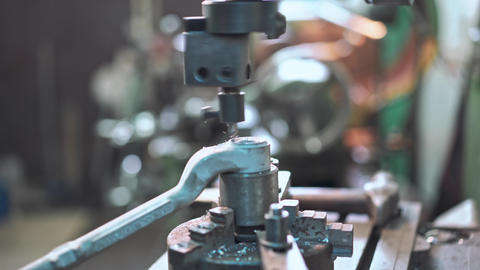 Cutting Steel Metal Shaft Processing on Lathe Machine Live Action