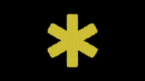 Symbol star of life is knitted from a woolen thread. Knit like a sweater Animation