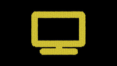 Symbol tv is knitted from a woolen thread. Knit like a sweater Animation