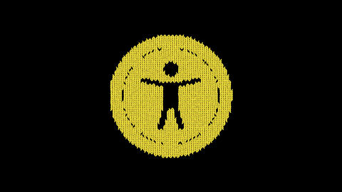 Symbol universal access is knitted from a woolen thread. Knit like a sweater Animation