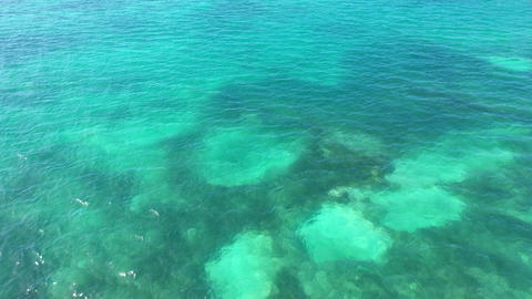 Aerial of the blue ocean around the Florida Keys Live Action