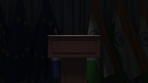 Row of flags of India and the European Union EU and and... Stock Video Footage