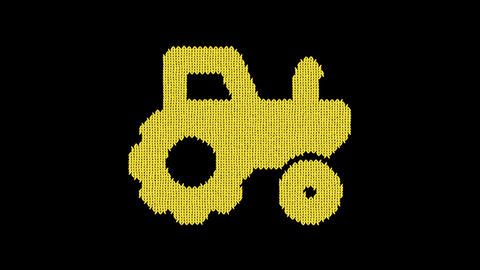 Symbol tractor is knitted from a woolen thread. Knit like a sweater Animation