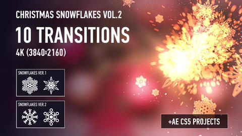 Christmas Snowflakes Transitions vol 2 After Effectsテンプレート