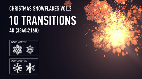 4K Christmas Snowflakes Transitions vol.2 - Gold Animation