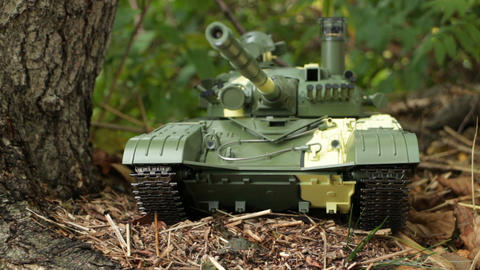 Tank T-72 powerful weapon front view Live Action