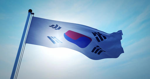 South korean flag waving depicts the national symbol of korea - 4k Animation
