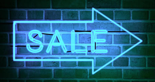 Neon sale sign shows discount offer or promotion for products - 4k Animation