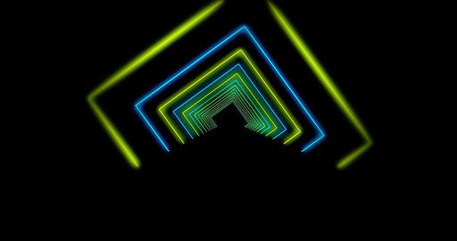 Abstract glowing neon tunnel using rays of light in a mosaic - 4k Animation