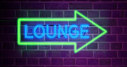 Neon lounge sign glowing text shows airport bar for relaxation - 4k Animation