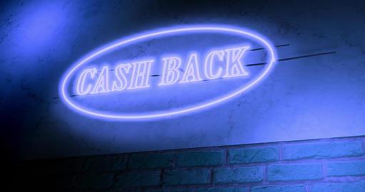 Cash back neon sign depicts discount sale as cashback - 4k Animation