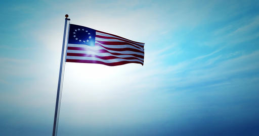 Betsy Ross flag flying shows historical United States revolution - 4k Animation