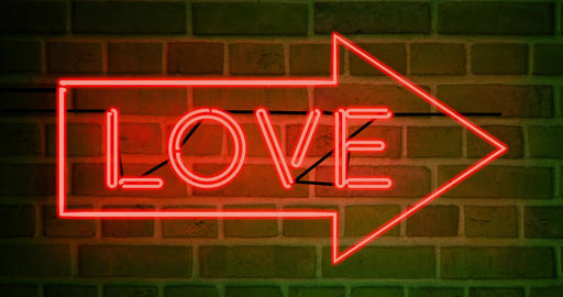 Neon love sign as illuminated advertising for nightclub or massage - 4k Animation