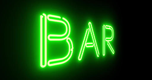 Neon bar sign outside public house, saloon or tavern. A colourful graphic for alcohol or cocktails Animation