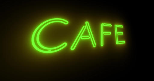 Neon cafe sign illuminated shows diner with food available - 4k Animation