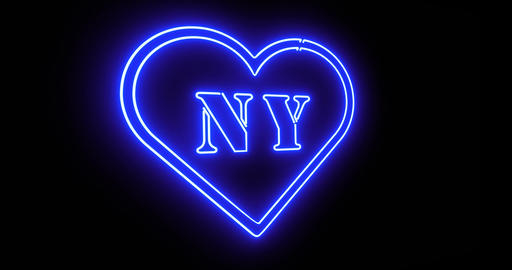 New York neon sign depicts Manhattan in NYC Usa - 4k Animation