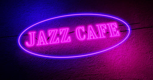 Jazz Cafe sign at entrance to musical bar entertainment - 4k Animation