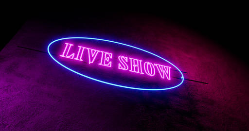 Live shows sign in neon illuminated and glowing advertising entertainment - 4k Animation
