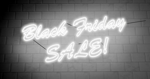 Black Friday sales sign is neon advertisement for discounts and savings - 4k Animation