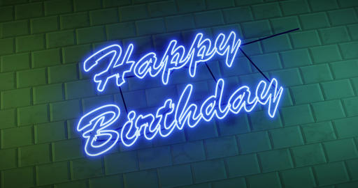 Happy Birthday sign is neon greeting for congratulations of the day - 4k Animation