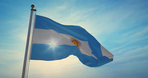 Argentinian flag waving is national banner or emblem for argentine people - 4k Animation