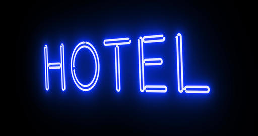 Neon hotel sign outside guest house room - 4k Animation