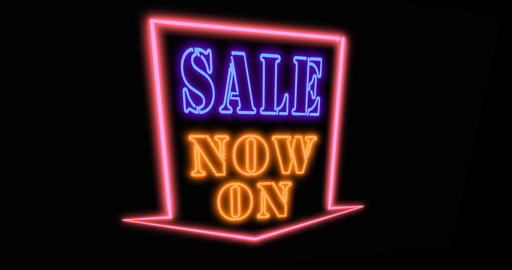 Sale now on neon sign means discounts and promotions available immediately - 4k Animation