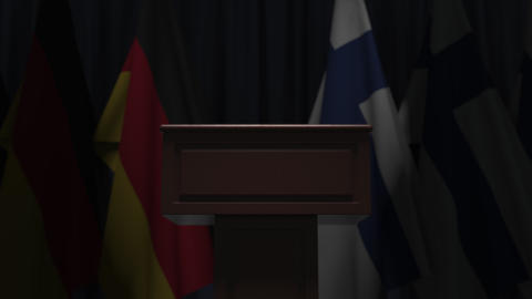 Row of flags of Finland and Germany and and speaker tribune, conceptual 3D Live Action