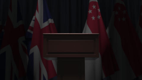 Many flags of Singapore and the United Kingdom, 3D animation GIF