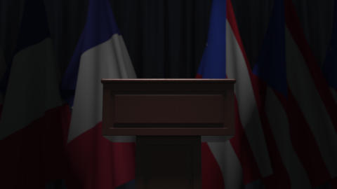 Many flags of Puerto Rico and France, 3D animation GIF
