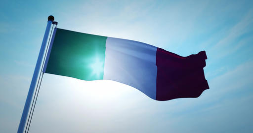 Italian flag waving depicts the national symbol of Italy - 4k Animation