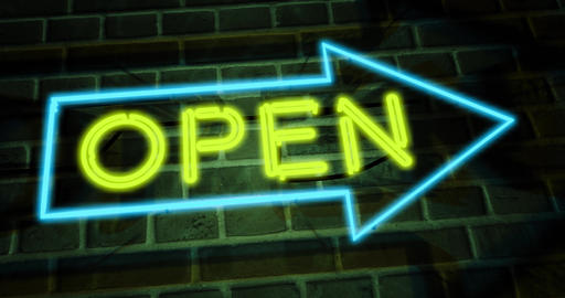 Neon open sign glowing and illuminated at a store entrance - 4k Animation