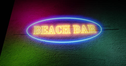 Beach bar sign neon graphic illuminated shows summer restaurant bar - 4k Animation