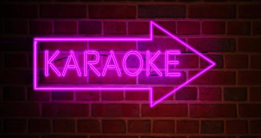 Karaoke neon sign glowing above bar or open mic establishment - 4k Animation