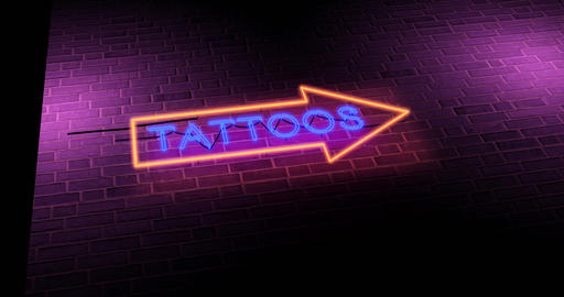 Neon tattoo sign graphics symbol advertisement for parlour - 4k Animation