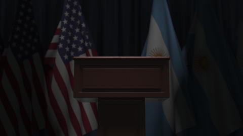 Row of flags of Argentina and the USA and and speaker tribune, conceptual 3D GIF