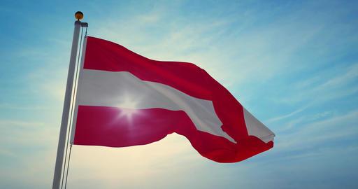 Austria flag waving is national banner or emblem for Austrian people - 4k Animation