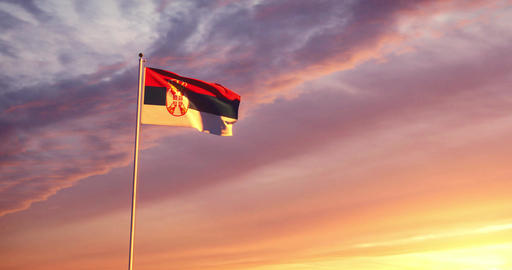 Serbian flag waving shows the Republic of Serbia with its capital Belgrave - 4k Animation