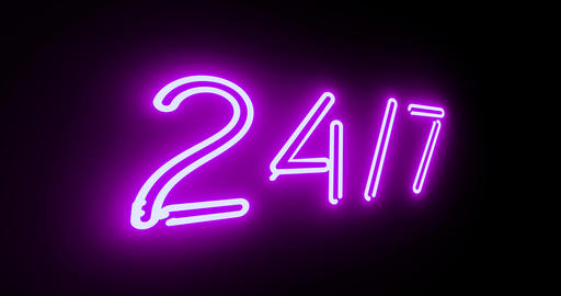 neon sign 24 7 shows business open and help available - 4k Animation