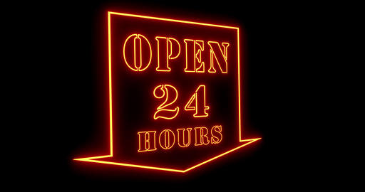 Open 24 hours sign shows business available and support welcome - 4k Animation