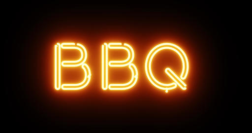 BBQ neon sign means barbecue food available roasted - 4k Animation