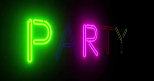 Neon party sign depicts celebration or fun event - 4k Animation