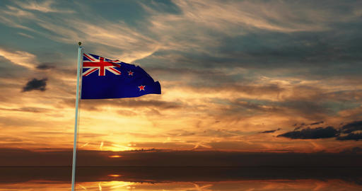 New zealand flag waving depicts the national symbol of the country - 4k Animation