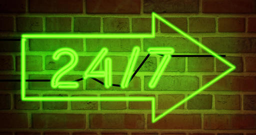 neon sign 24 7 shows business open and support available - 4k Animation