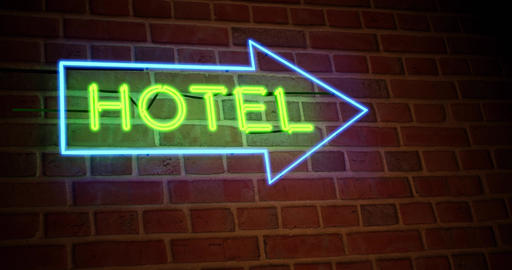 Neon hotel sign towards guest house room - 4k Animation