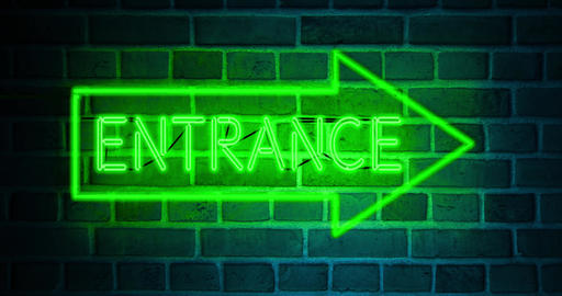 Neon entrance sign above illuminated doorway as welcome to business - 4k Animation