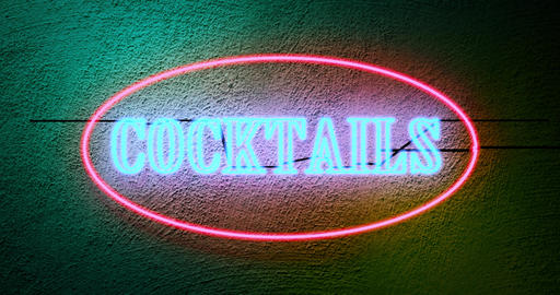 Neon cocktails sign outside tropical bar shows nightclub entrance - 4k Animation